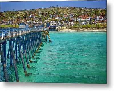 San Clemente Pier Metal Print by Joan Carroll