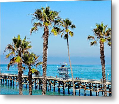 San Clemente Pier Metal Print by Suzanne Oesterling