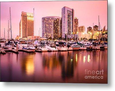 San Diego At Night With Skyline And Marina Metal Print