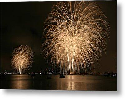 San Diego Bay Fireworks Metal Print