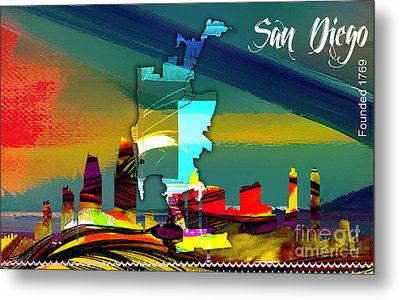 San Diego California Map And Skyline Metal Print by Marvin Blaine