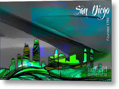 San Diego California Skyline Watercolor Metal Print