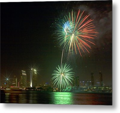 San Diego Cityscape Fireworks Metal Print