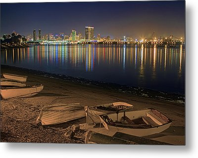 Metal Print featuring the photograph San Diego Harbor Lights by Gary Holmes