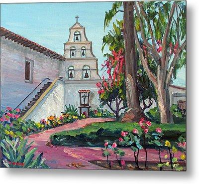 San Diego Mission Garden In Spring Metal Print by Robert Gerdes