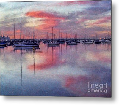 San Diego - Sailboats At Sunrise Metal Print by Lianne Schneider