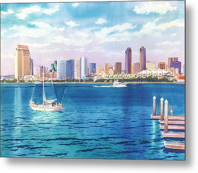 San Diego Skyline And Convention Ctr Metal Print by Mary Helmreich