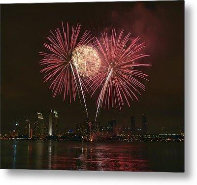 San Diego Skyline Fireworks Metal Print