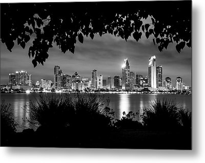 San Diego Skyline Framed 2 Black And White Metal Print by Lee Kirchhevel