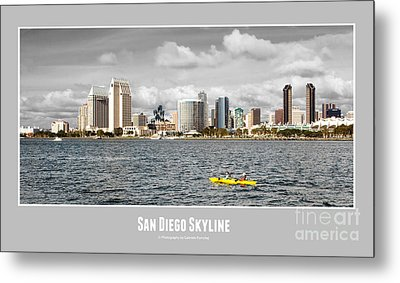 San Diego Skyline - Poster Style Metal Print