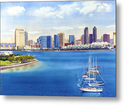 San Diego Skyline With Meridien Metal Print by Mary Helmreich
