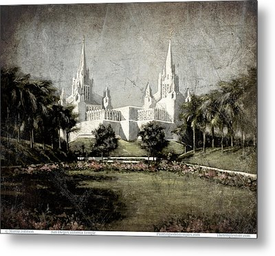 San Diego Temple Antique Metal Print