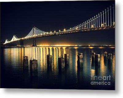 San Francisco Bay Bridge Illuminated Metal Print by Jennifer Ramirez