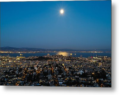San Francisco Bay Full Moon Metal Print