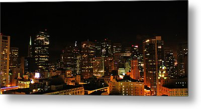 San Francisco By Night Metal Print by Cedric Darrigrand