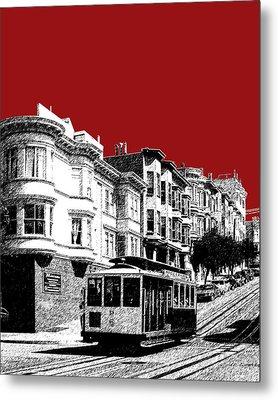 San Francisco Cable Car 2 - Dk Red Metal Print