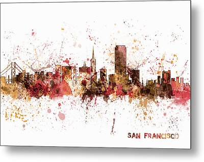 San Francisco California City Skyline Metal Print