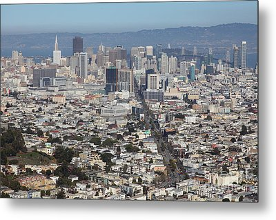 San Francisco California From Twin Peaks 5d28036 Metal Print by Wingsdomain Art and Photography