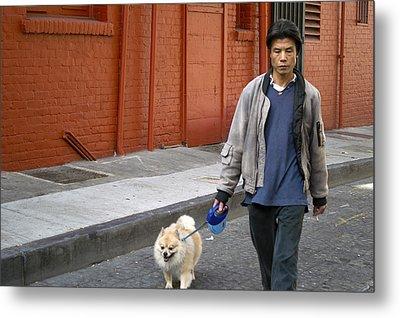 San Francisco Chinatown Dog Walker Metal Print by Christopher Winkler