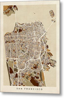 San Francisco City Street Map Metal Print by Michael Tompsett