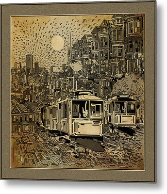 San Francisco Cityscape Vintage Metal Print