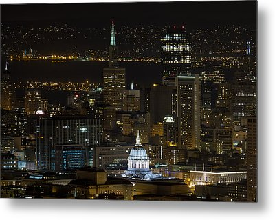 San Francisco Cityscape With City Hall At Night Metal Print by David Gn