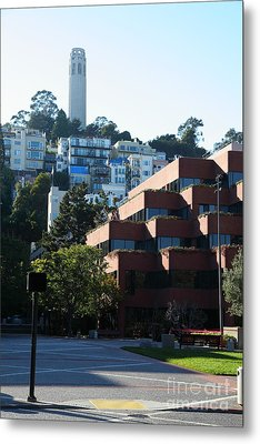 San Francisco Coit Tower At Levis Plaza 5d26188 Metal Print by Wingsdomain Art and Photography
