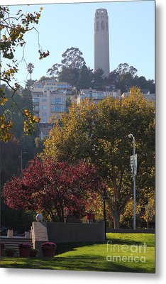 San Francisco Coit Tower At Levis Plaza 5d26216 Metal Print by Wingsdomain Art and Photography