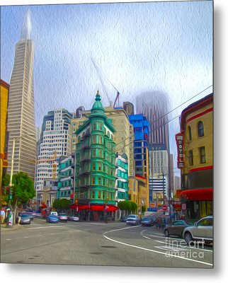 San Francisco - Columbus Street Metal Print by Gregory Dyer