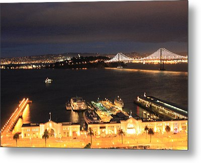 San Francisco Embarccadero And Bay Bridge Lights Metal Print by Ron McMath