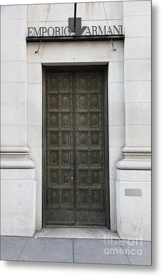San Francisco Emporio Armani Store Doors - 5d20538 Metal Print by Wingsdomain Art and Photography