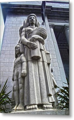 San Francisco - Financial District Statue - 03 Metal Print by Gregory Dyer
