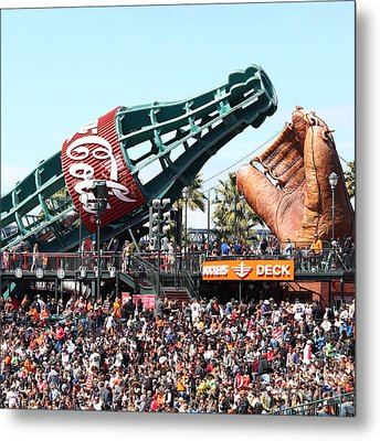 San Francisco Giants Baseball Ballpark Fan Lot Giant Glove And Bottle 5d28241 Square Metal Print by Wingsdomain Art and Photography