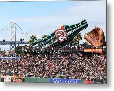 San Francisco Giants Baseball Ballpark Fan Lot Giant Glove And Bottle 5d28246 Metal Print by Wingsdomain Art and Photography
