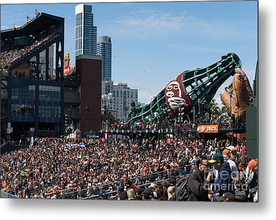 San Francisco Giants Fan Lot Giant Glove And Bottle Dsc1176 Metal Print by Wingsdomain Art and Photography