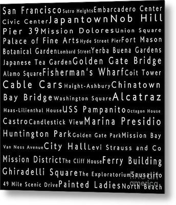 San Francisco In Words Black Metal Print