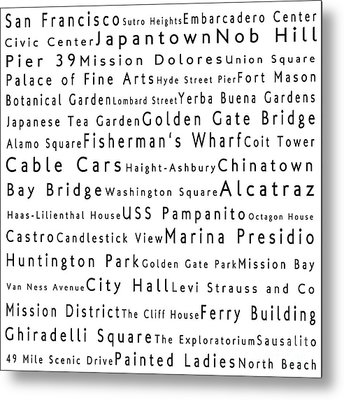 San Francisco In Words White Metal Print