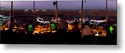 San Francisco Intl Airport Control Metal Print by Panoramic Images