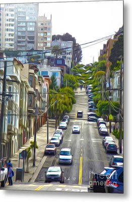 San Francisco - Lombard Street Metal Print by Gregory Dyer
