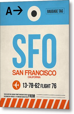 San Francisco Luggage Tag Poster 1 Metal Print