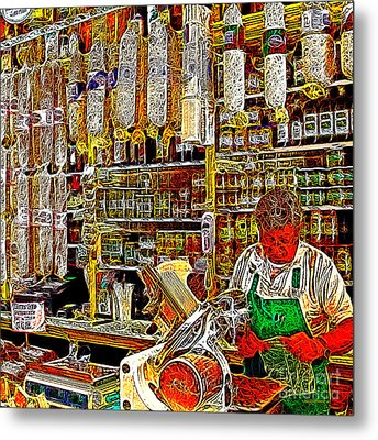 San Francisco North Beach Deli 20130505v2 Square Metal Print by Wingsdomain Art and Photography