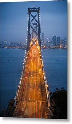 San Francisco - Oakland Bay Bridge Metal Print by Adam Romanowicz
