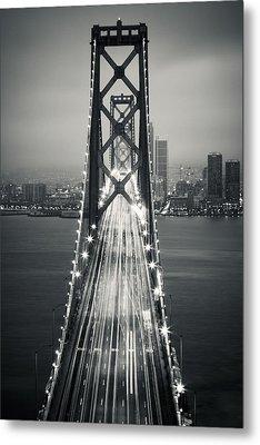 San Francisco - Oakland Bay Bridge Bw Metal Print by Adam Romanowicz