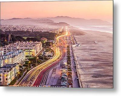 San Francisco Ocean Beach Drive Metal Print by Dave Gordon