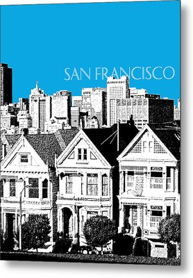 San Francisco Skyline Alamo Square - Ice Blue Metal Print by DB Artist