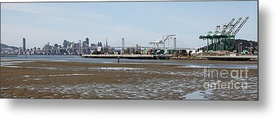 San Francisco Skyline And The Bay Bridge Through The Port Of Oakland 5d22238 Metal Print by Wingsdomain Art and Photography