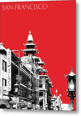 San Francisco Skyline Chinatown - Red Metal Print by DB Artist