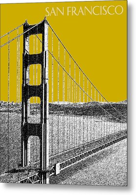San Francisco Skyline Golden Gate Bridge 1 - Gold Metal Print by DB Artist