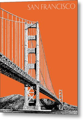 San Francisco Skyline Golden Gate Bridge 2 - Coral Metal Print by DB Artist