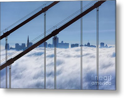 San Francisco Skyline In Fog Metal Print by Jerry Fornarotto
